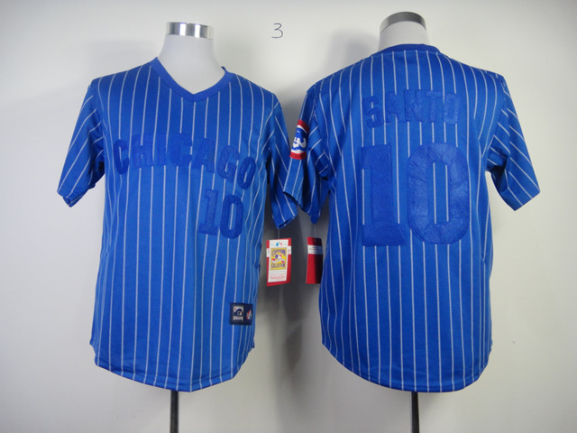 MLB Chicago Cubs 10 Ron Santo Blue With White Pinstripe