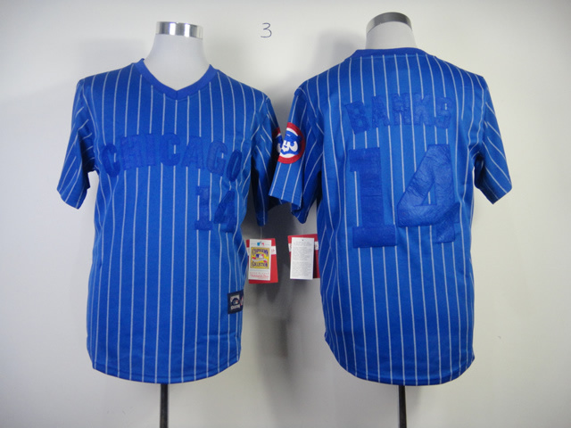MLB Chicago Cubs 14 Ernie Banks Blue With White Pinstripe
