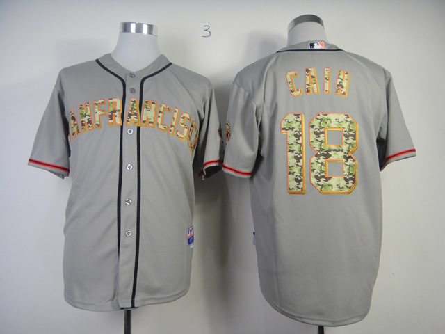MLB San Francisco Giants 18 Cain Grey Camo 2013 USMC Road Jersey