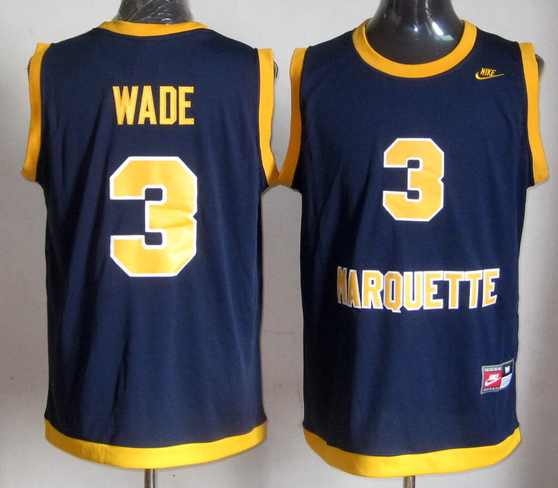 NBA NCAA Marquette Golden Eagles 3 Dwyane Wade Dark Blue College Basketball Jersey