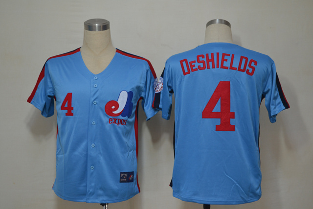 MLB Montreal Expos 4 Deshields Blue Throwback Jerseys