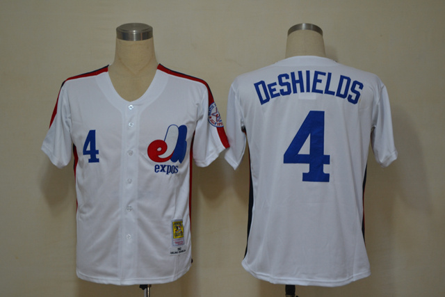 MLB Montreal Expos 4 Deshields White Throwback Jerseys