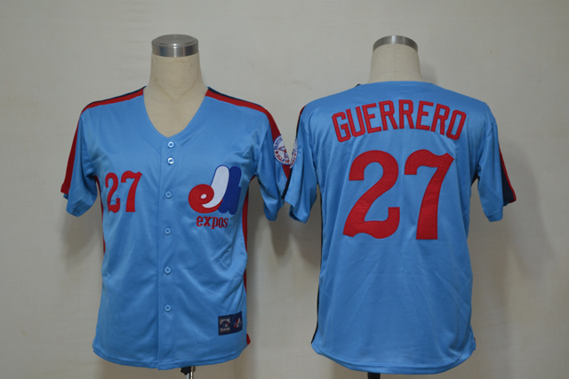 MLB Montreal Expos 27 Guerrerd Blue Throwback Jerseys