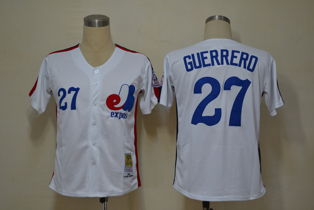 MLB Montreal Expos 27 Guerrerd White Throwback Jerseys