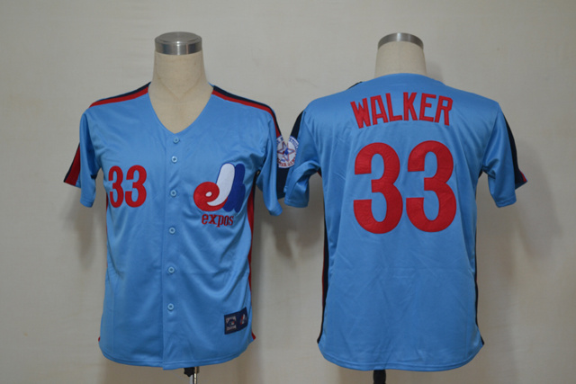 MLB Montreal Expos 33 Walker Blue Throwback Jerseys