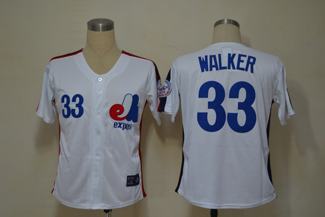 MLB Montreal Expos 33 Walker White Throwback Jerseys