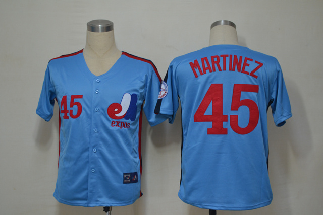 MLB Montreal Expos 45 Martinez Blue Throwback Jerseys