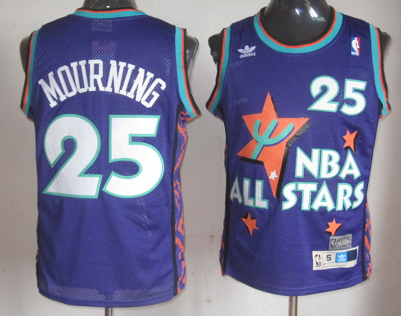 NBA 25 Alonzo Mourning 1995 all star game purple jersey