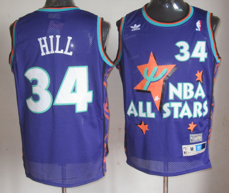 NBA 34 Tyrone Hill 1995 all star game purple jersey