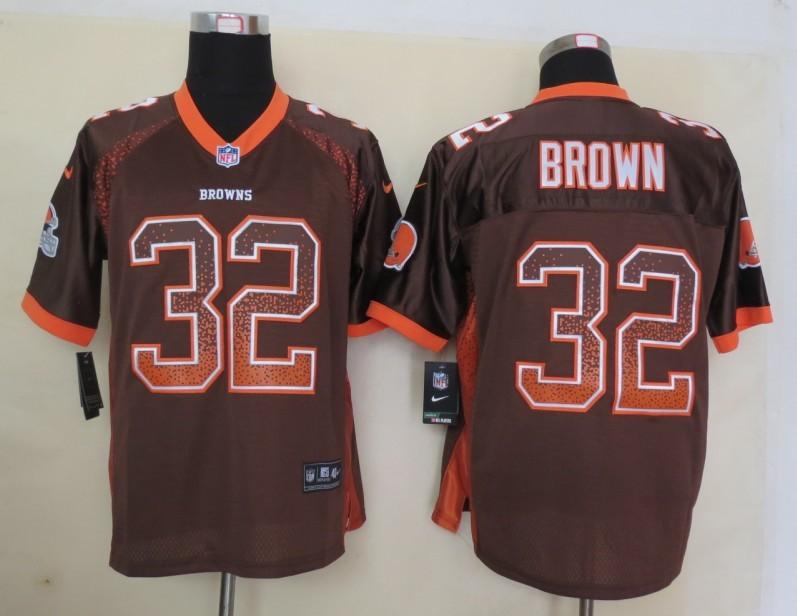 2013 New Nike Cleveland Browns 32 Brown Drift Fashion Brown Elite Jerseys