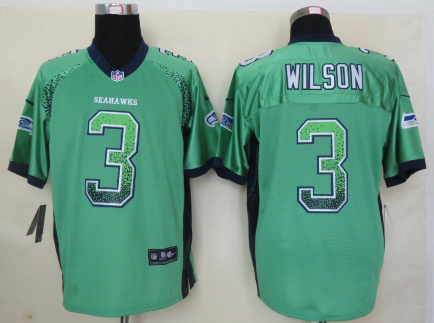 2013 New Nike Seattle Seahawks 3 Wilson Drift Fashion Green Elite Jerseys
