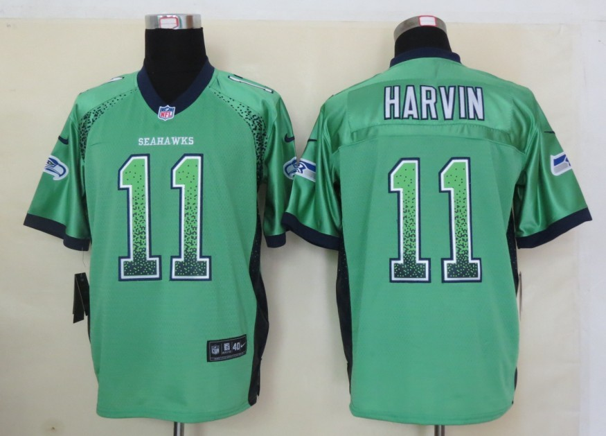 2013 New Nike Seattle Seahawks 11 Harvin Drift Fashion Green Elite Jerseys