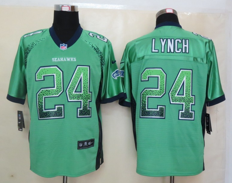 2013 New Nike Seattle Seahawks 24 Lynch Drift Fashion Green Elite Jerseys