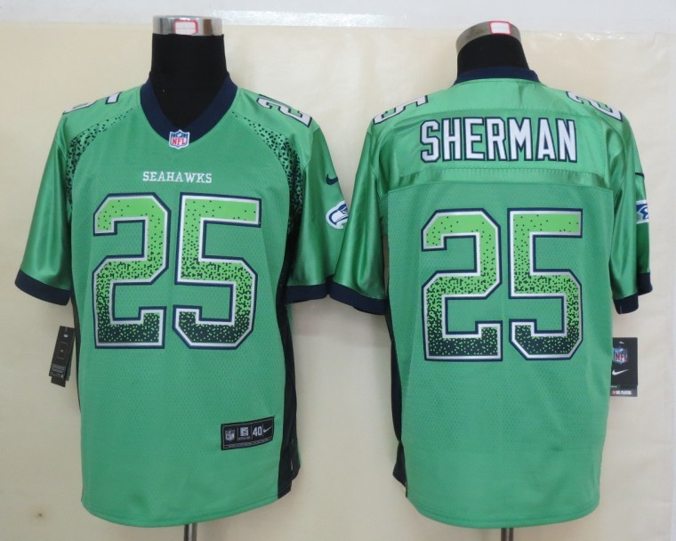 2013 New Nike Seattle Seahawks 25 Sherman Drift Fashion Green Elite Jerseys