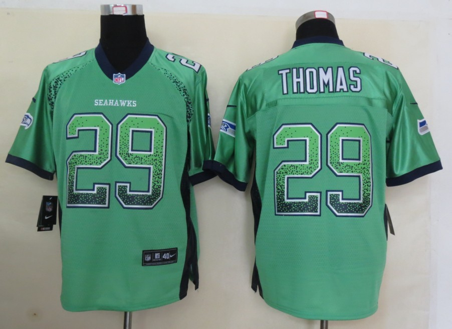 2013 New Nike Seattle Seahawks 29 Thomas Drift Fashion Green Elite Jerseys