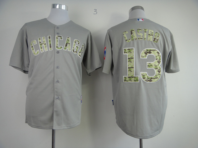 MLB Chicago Cubs 13 Starlin Castro Grey Camo New Cool Base Jersey