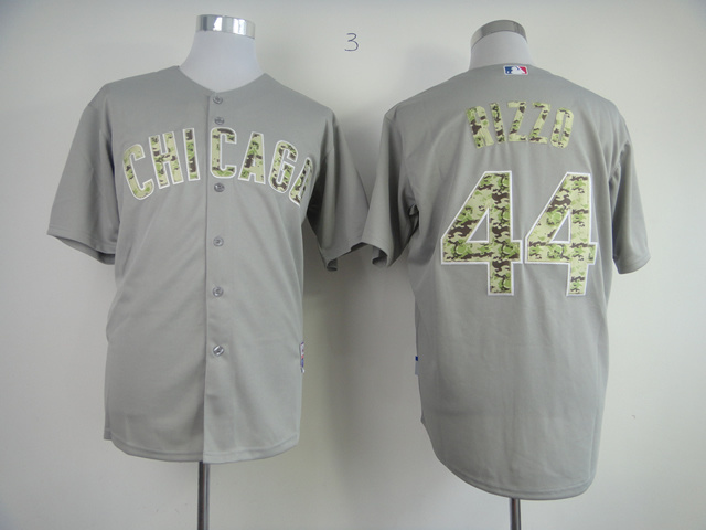 MLB Chicago Cubs 44 Rizzo Grey Camo New Cool Base Jersey