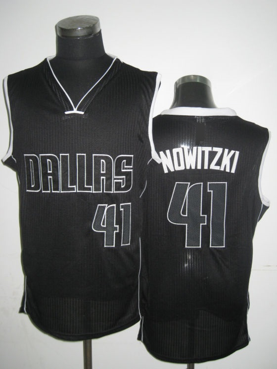 NBA Dallas Mavericks 41 Dirk Nowitzki black lights out jersey