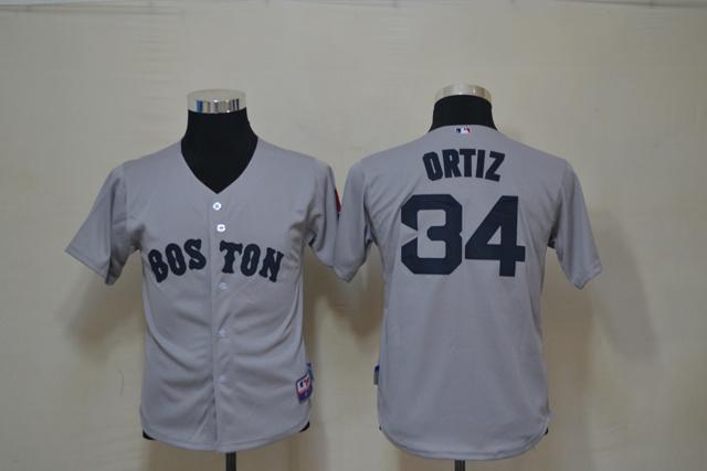 MLB Youth Boston Red Sox 34 Ortiz Grey Jerseys
