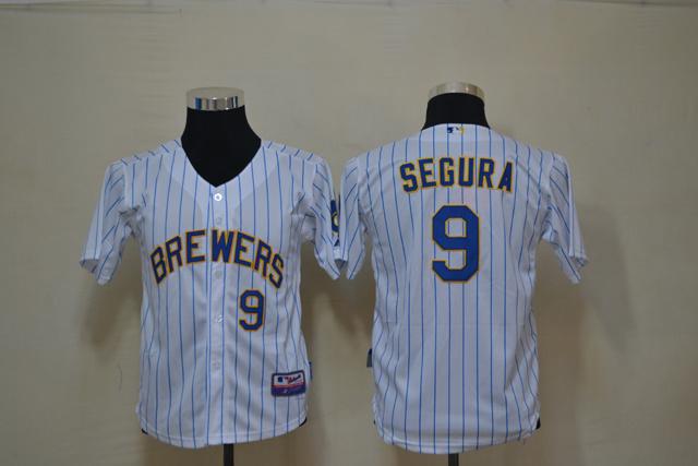 MLB Youth Milwaukee Brewers 9 Segura White blue strip Jerseys