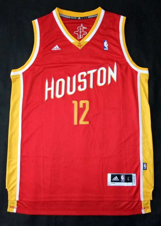 NBA Houston Rockets 12 Dwight Howard throwback red yellow jersey