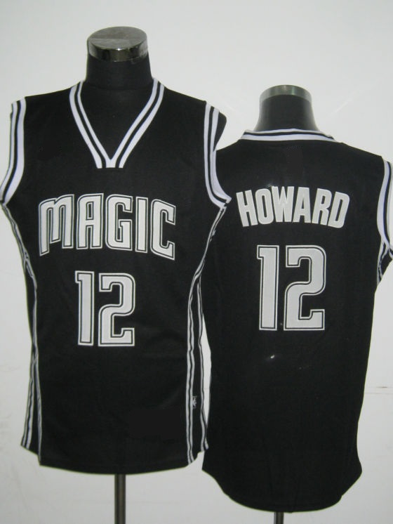NBA Orlando Magic 12 Dwight Howard black lights out jersey