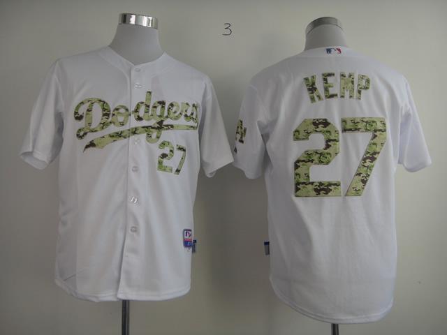 MLB Los Angeles Dodgers 27 Kemp White Camo 2013 USMC Home Cool Base Jersey