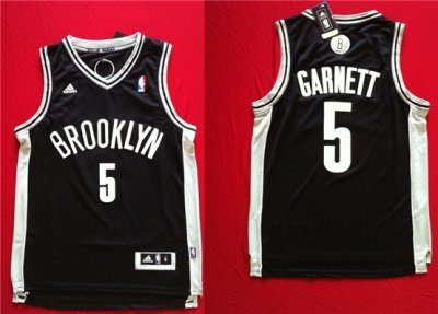 NBA Brooklyn Nets 5 Kevin Garnett Black Swingman Jersey