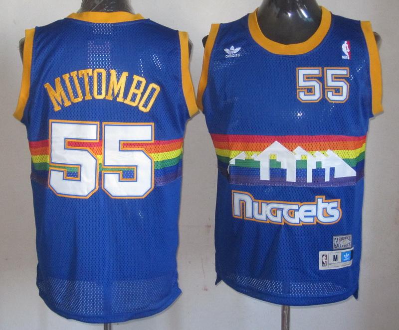 NBA Denver Nuggets 55 Dikembe Mutombo blue Jerseys