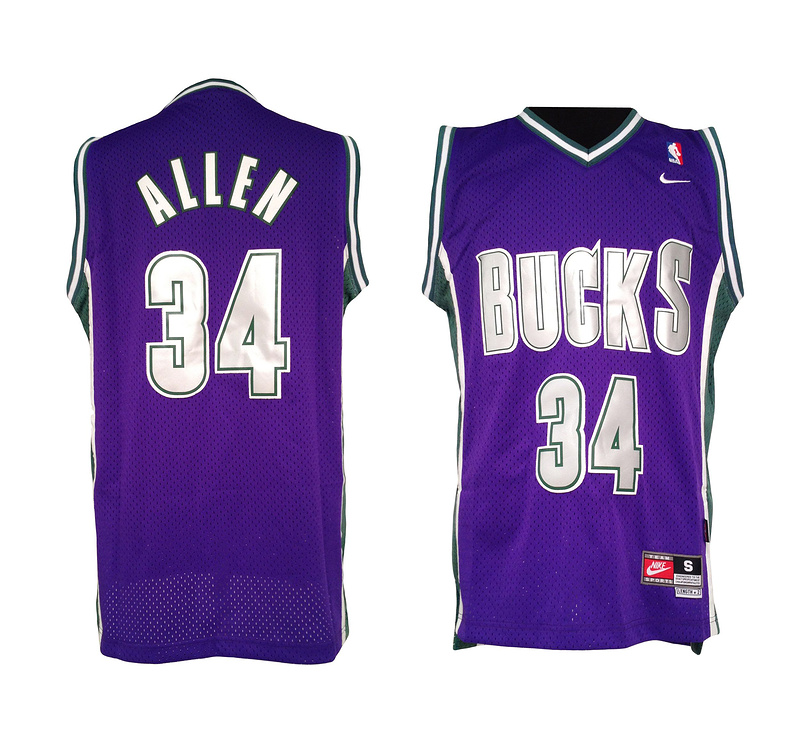 NBA Milwaukee Bucks 34 Ray Allen Purple Soul Swingman Jersey