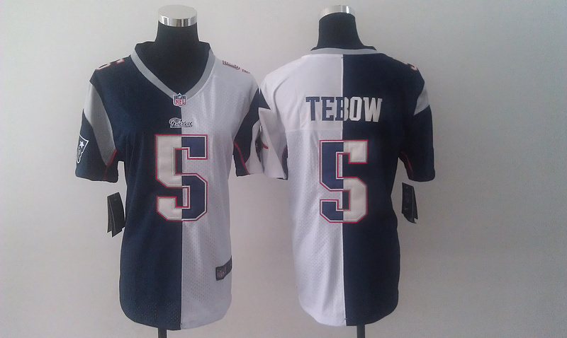 Womens New England Patriots 5 Tim Tebow White and blue Nike Elite Split Jersey