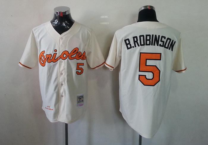 MLB Baltimore Orioles 5 Brooks Robinson Cream Jerseys