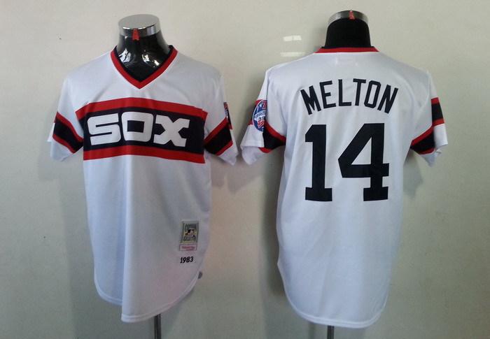 MLB Chicago White Sox 14 Melton White Throwback Jerseys