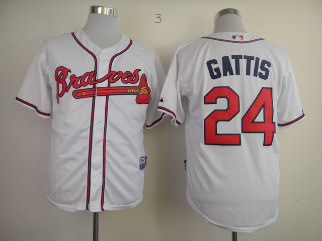MLB Atlanta Braves 24 Evan Gattis white Jersey