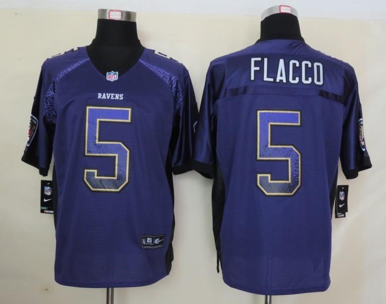 2013 NEW Nike Baltimore Ravens 5 Flacco Drift Fashion Purple Elite Jerseys