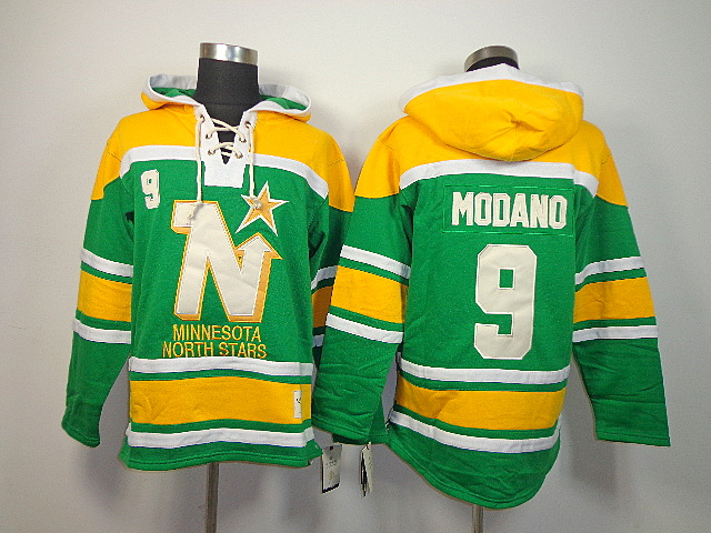 NHL Dallas Stars 9 Mike Modano Green Old Time Hockey Sawyer Lace Up Pullover Hooded Sweatshirt
