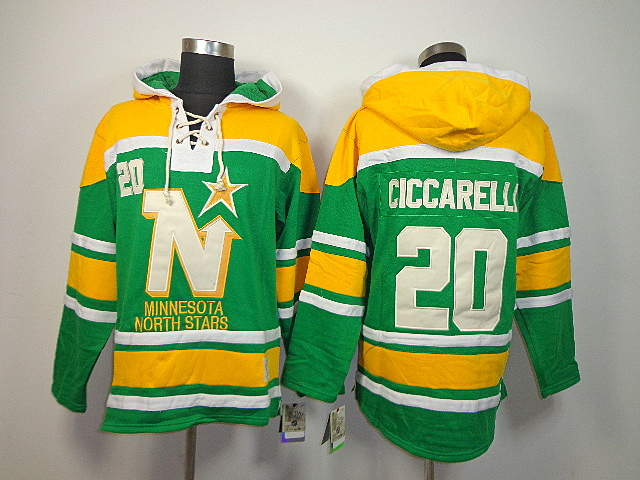 86dad2fc0 ... NHL Dallas Stars 20 Dino Ciccarelli Green Old Time Hockey Sawyer Lace  Up Pullover Hooded Sweatshirt ...