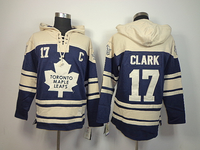 NHL Toronto Maple Leafs 17 Wendel Clark dark blue Old Time Hockey Sawyer Lace Up Pullover Hooded Sweatshirt