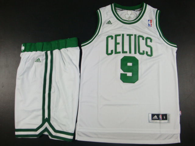 NBA Boston Celtics 9 Rajon Rondo White Jerseys with Shorts