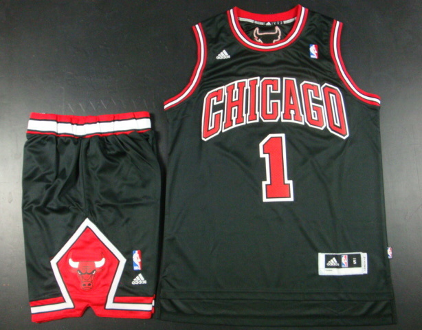NBA Chicago Bulls 1 Derrick Rose Black Jersey With Shorts