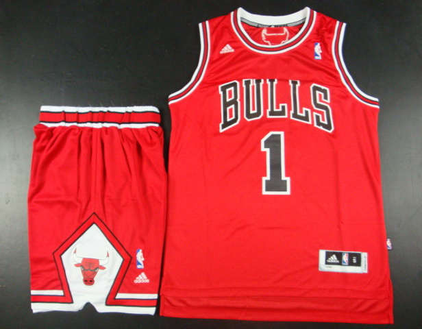 NBA Chicago Bulls 1 Derrick Rose Red Jersey With Shorts
