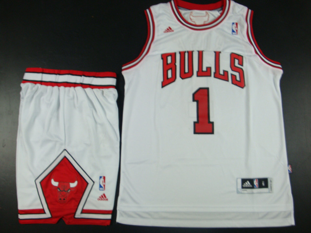 NBA Chicago Bulls 1 Derrick Rose White Jersey With Shorts