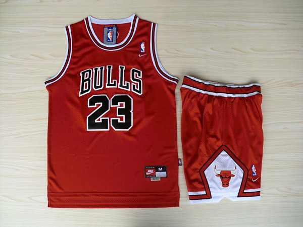 NBA Chicago Bulls 23 Michael Jordan Red CHICAGO in front Jersey With Shorts