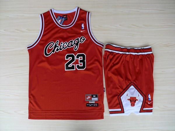 NBA Chicago Bulls 23 Michael Jordan Red Jersey With Shorts