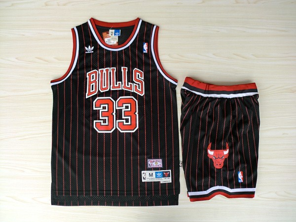 NBA Chicago Bulls 33 Scottie Pippen Black With Red Jerseys with Shorts