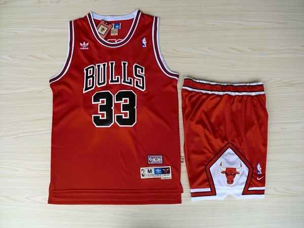 NBA Chicago Bulls 33 Scottie Pippen red Jerseys with Shorts