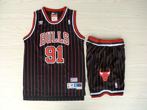 NBA Chicago Bulls 91 Dennis Rodman Black With Red Jerseys with Shorts