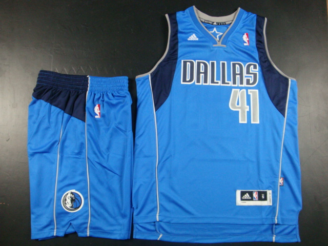 NBA Dallas Mavericks 41 Dirk Nowitzki Baby Blue Jerseys with shorts