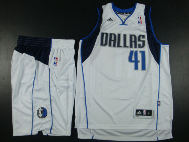 NBA Dallas Mavericks 41 Dirk Nowitzki White Jerseys with shorts