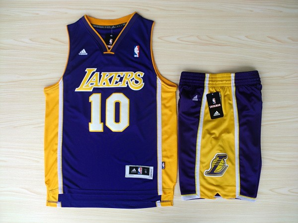 NBA Los Angeles Lakers 10 Steve Nash Purple Jerseys with Shorts